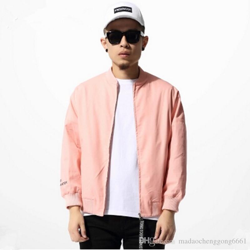 Pink Jacket Men Hip Hop Loose Kanye West Bomber Jacket Pink ...