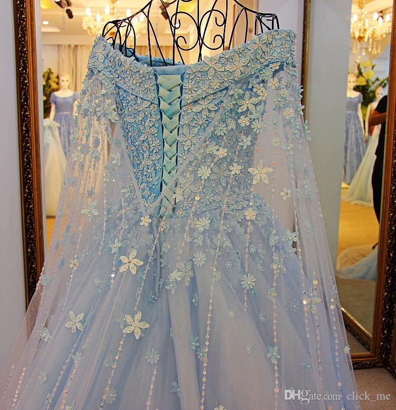 Princesa Frisada Mangas Compridas Prom Vestidos Sexy Off The Shoulder Beads Apliques Vestidos de Noite Longo Com Wraps Lace Up Meninas Pageant Vestido