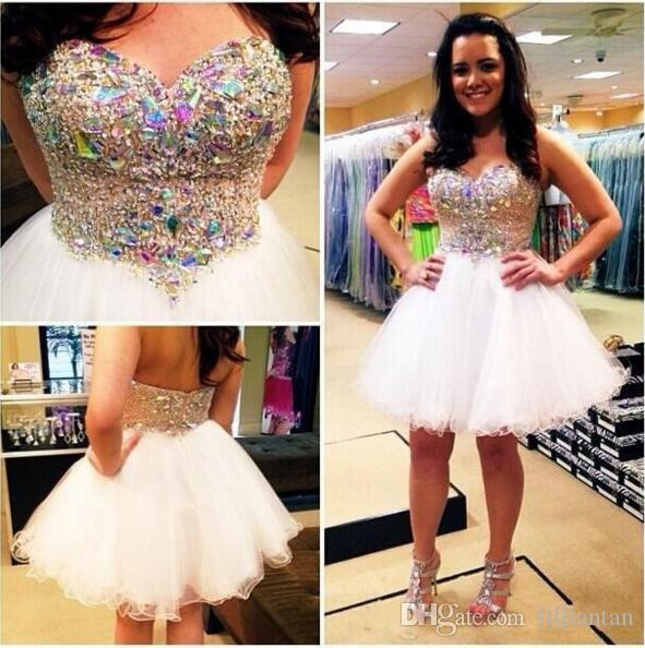 Charming Rhinestone Homecoming Dresses 8th grade short Prom Dress Crystal Beads Cocktail Dresses Sweetheart White Organza Mini Party Gowns