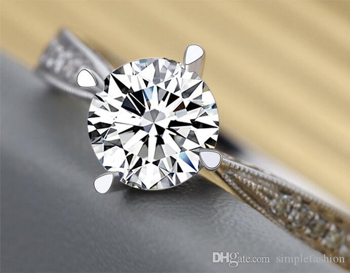 Vecalon تصميم الأزياء خاتم الزواج خاتم الفرقة للنساء 1ct تشيكوسلوفاكيا خاتم الماس 925 فضة أنثى الاشتباك البنصر