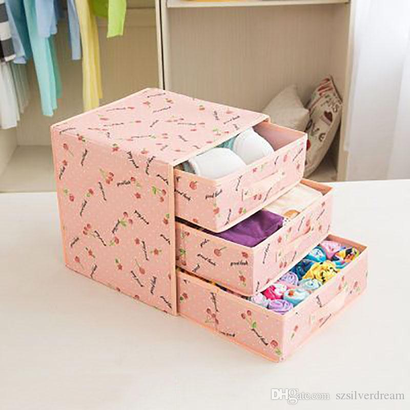 3 Layered Foldable Oxford Fabrics Organizer Storage Box Set Underwear Box  For Bra Underwear Tie Socks Foldable Storage Box Underwear Box Uderwear Bra  Tie ...