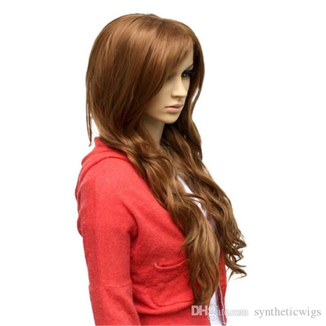 WoodFestival long curly synthetic wig 70cm loose wave women hair wigs brown oblique bangs natural cheap fiber wig