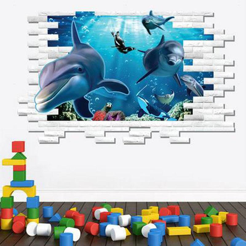 Hot Sale Style 3d Dolphins Stickers Underwater World For Sitting ...