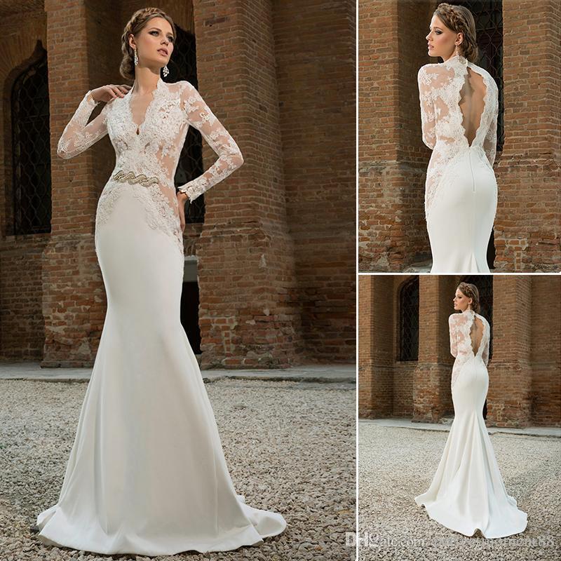 Sheer Lace Applique Long Sleeve Wedding Dress V Neck: 2017 Sheer Lace Mermaid Beaded Vintage Wedding Dresses