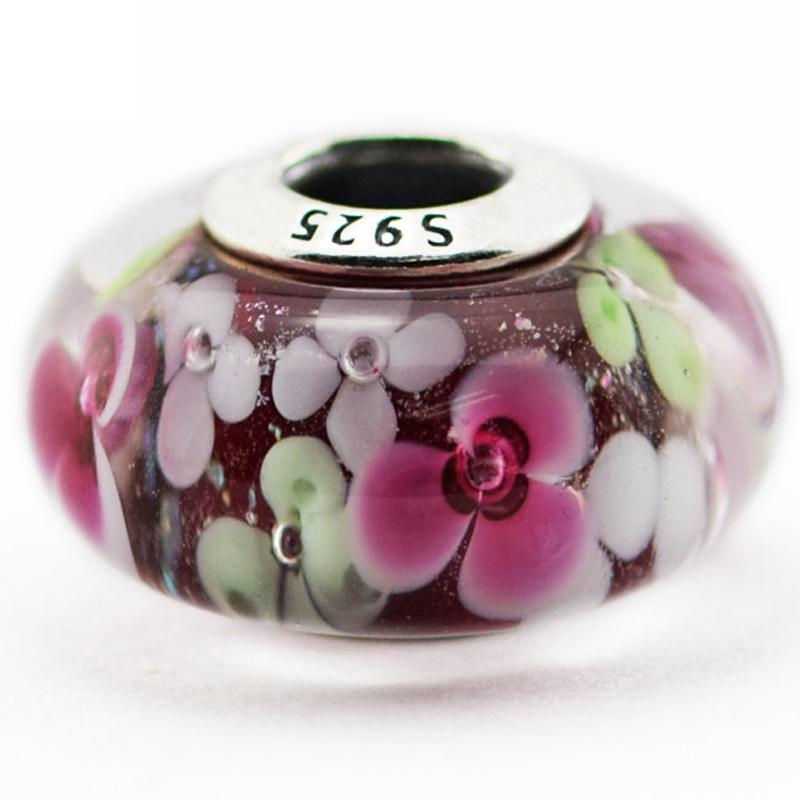 Flower Garden Murano Glass 2016 Summer 100% 925 Sterling Silver Bead Fit Pandora Bracelet Fashion Jewelry DIY Charm Brand
