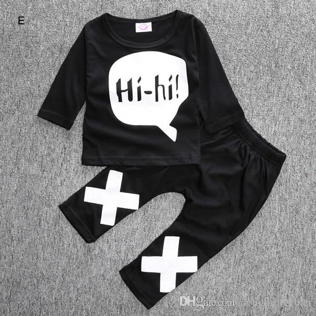 Ins Baby Boy Girl Suit Clothing 2016 New Autumn Halloween Newborn Pattern Top Shirt+Pant Two-piece Suit Infant Tracksuit Outfit 0-2T