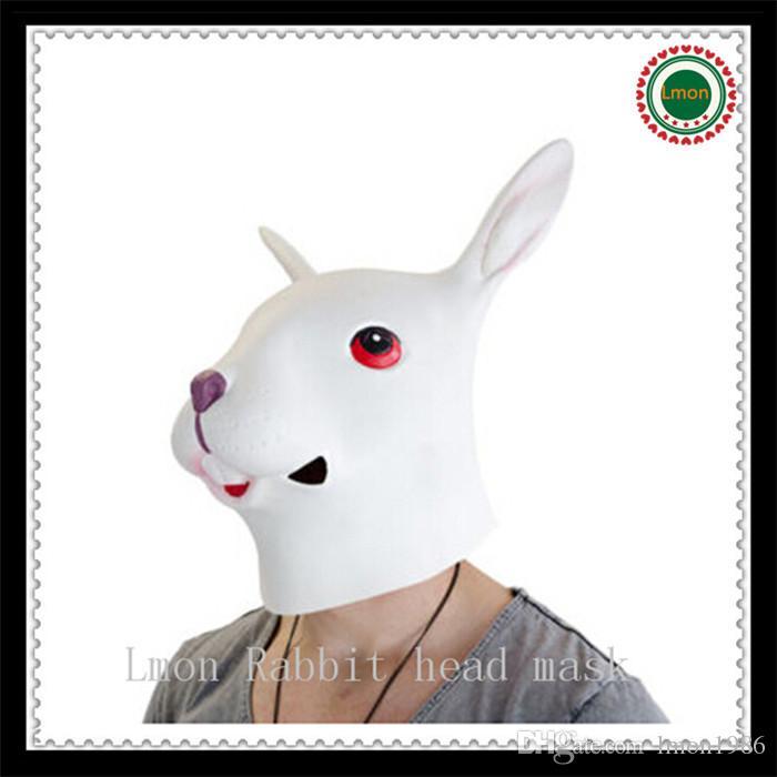 Nouveau Lapin Tête Masque Creepy Animal Halloween Costume Théâtre Prop Nouveauté Latex En Caoutchouc Drôle Lapin Masque Livraison Gratuite