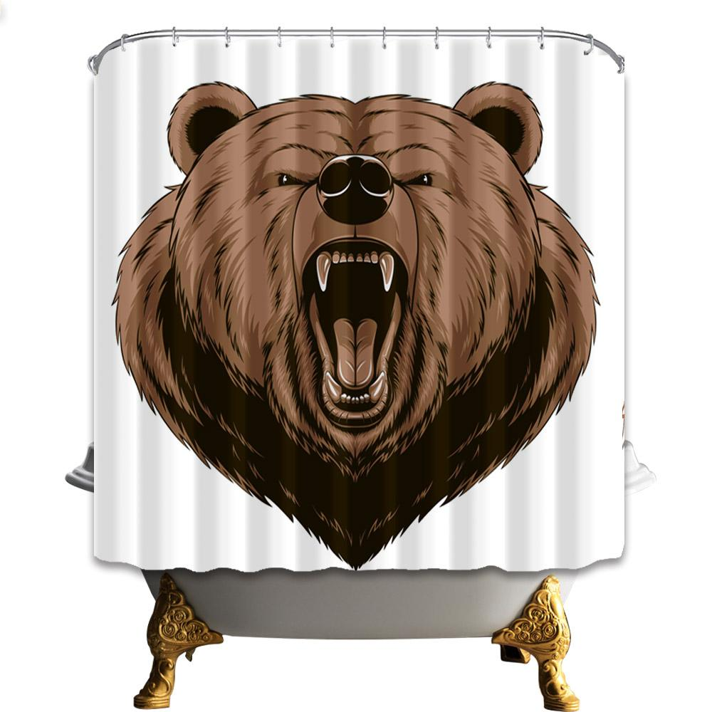 Digital Printing Brown Bear Shower Curtains 180*180cm Home Decoration Mildew Resistant Waterproof Bathroom Polyester Curtain Free Shipping