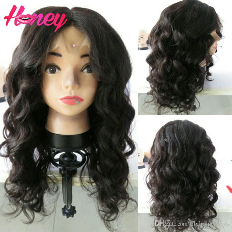 Full Lace Human Hair Wigs Brazilian Yaki Body Wave Lace Front Wigs Long Body wave Peruvian hair Full lace wig for black women