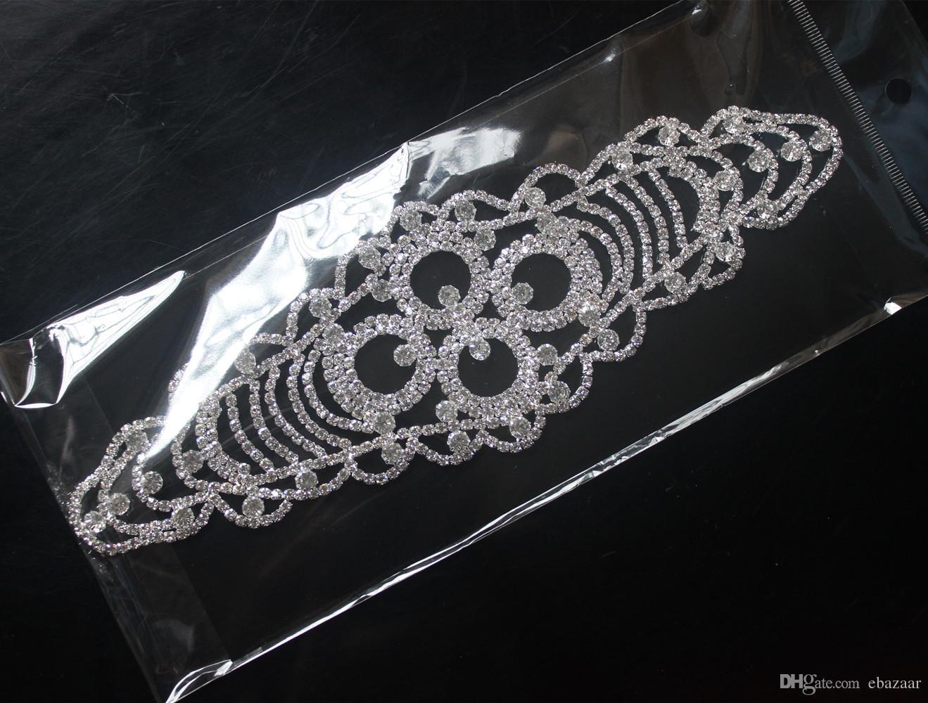 Strass Trim Hochzeit Braut Nähen auf Kleid Applique Silver Crystal Strass Kleid Sash Gürtel Hochzeit Dekoration