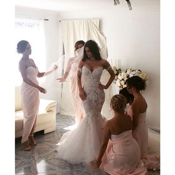2016 sirena vestidos de novia largos Nueva llegada fuera del hombro desmontable mangas cortas sin respaldo perlas sirena tul tren de barrido vestidos de novia