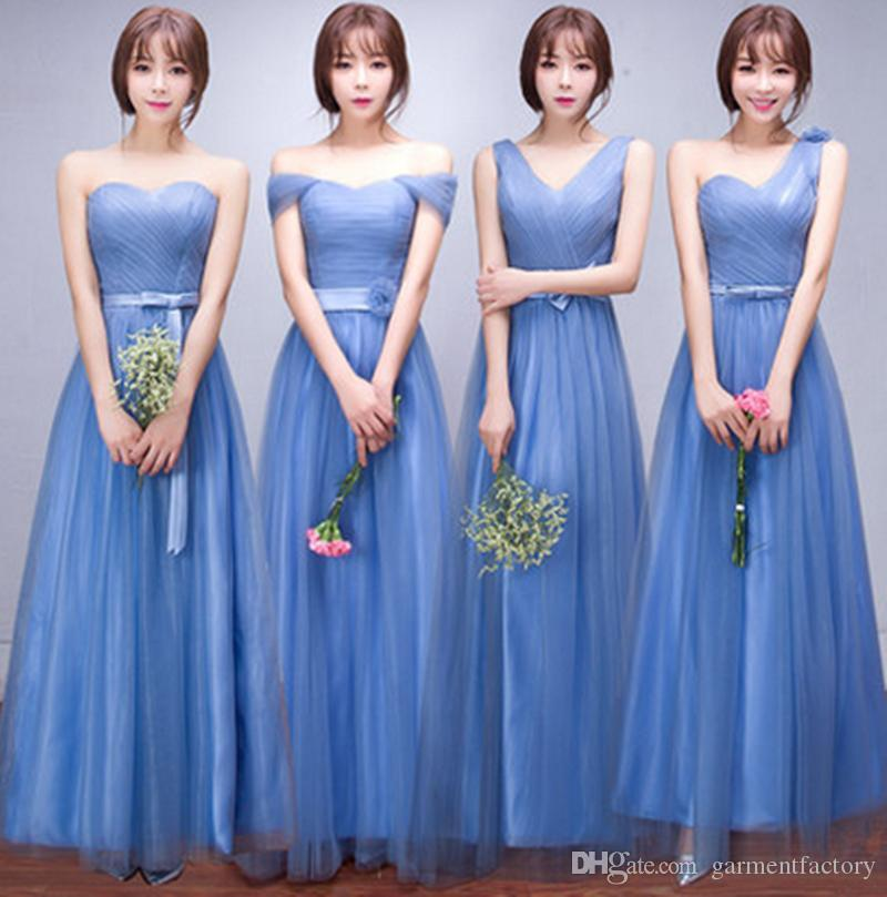 2016 Country Sky Blue Bridesmaid Dresses Long Four Different Mix ...