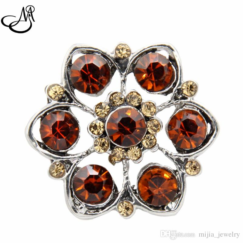 18mm Snap button charms jewelry brown crystal flower snap buttons for snap button bracelets jeweley MIJ502