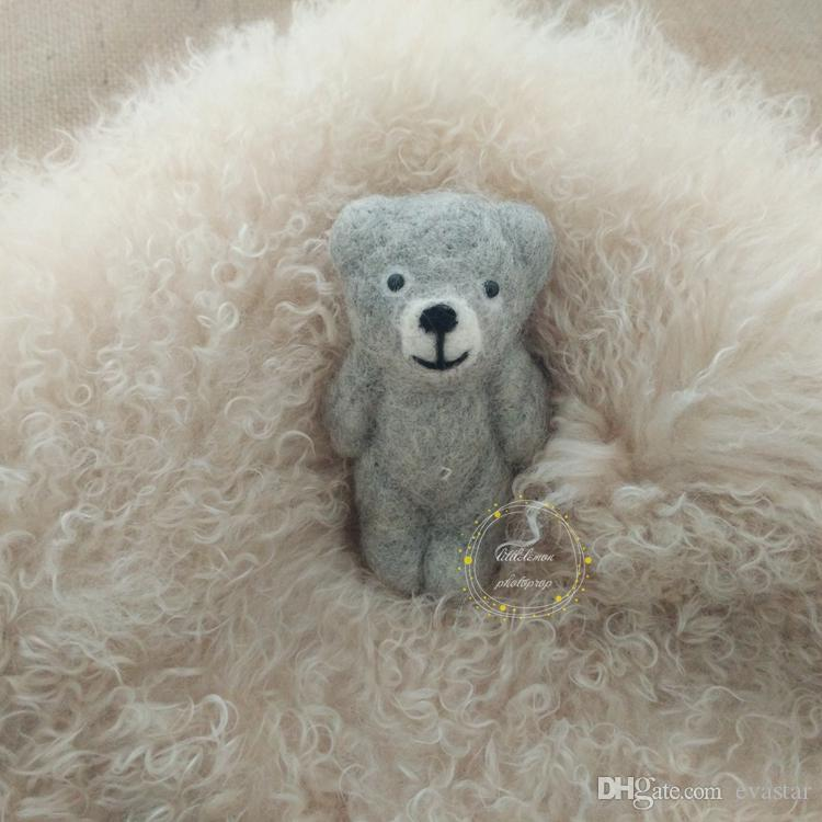 Newborn baby handmade bear photo prop Woollen felt bear Baby bear animal doll photography props