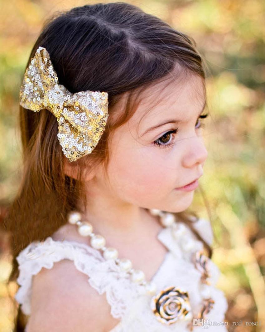 11 цвет новых европейских и американских детей дети дети блестки шпильки большой лук милая девочка ювелирные изделия оптом аксессуары для волос головы