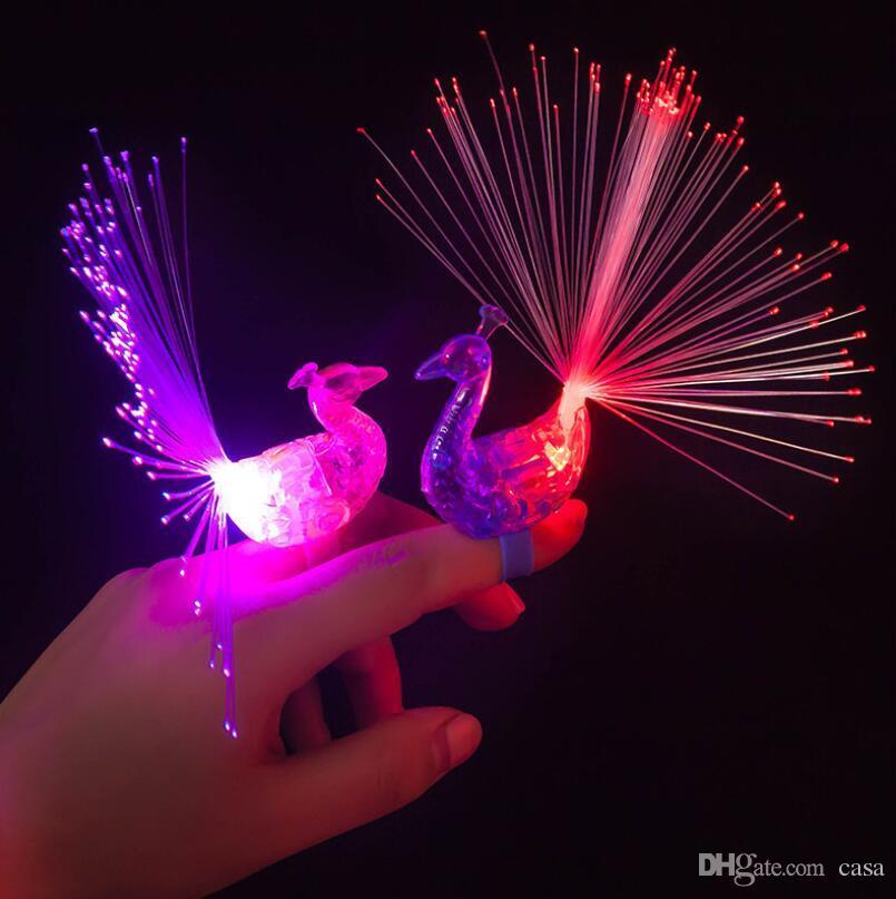 Творческий Павлин светодиодный палец кольцо огни лучи партия ночной клуб Цвет кольца оптическое волокно лампы дети дети Хэллоуин подарки
