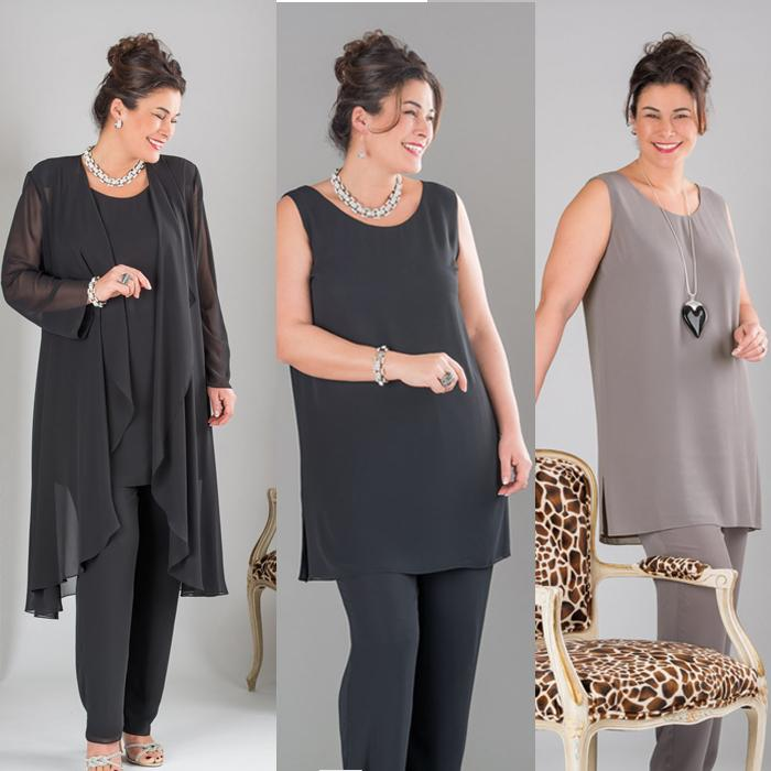 Plus Size Black Gray Mother Of The Bride Pant Suits With