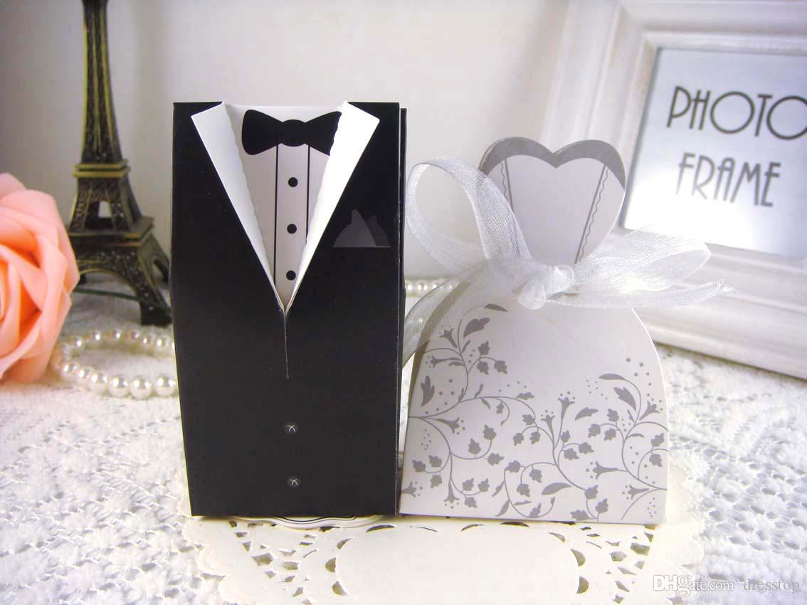 New Bride And Groom Candy Boxes Wedding Favors Doll Shape Flower ...