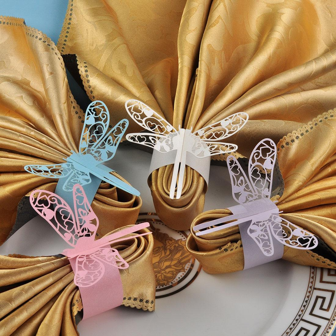 Pearl Paper Home Decor Stock Product India Napkin Rings: Laser Cut Hollow Dragonfly Paper Napkin Rings Wraps For