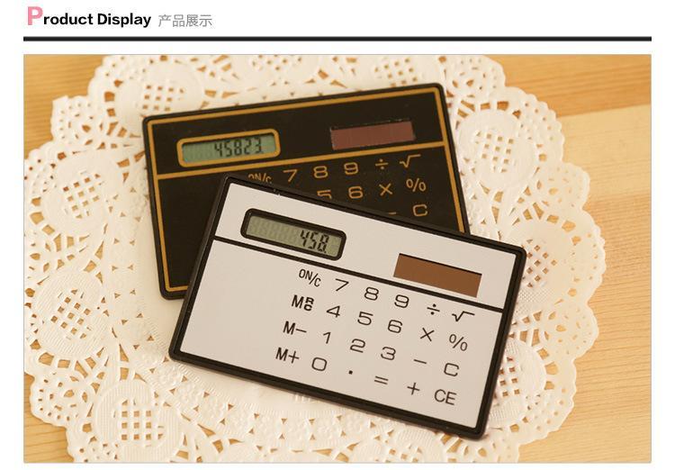 2018 popolare Tipo di carta calcolatrice di studio Portable forniture ufficio all'ingrosso Pannello solare nero bianco