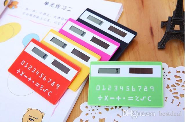 cartão de crédito de papelaria calculadora portátil mini portátil ultra-fino Calculadora de cartão Solar Power Calculadora de bolso pequena Slim