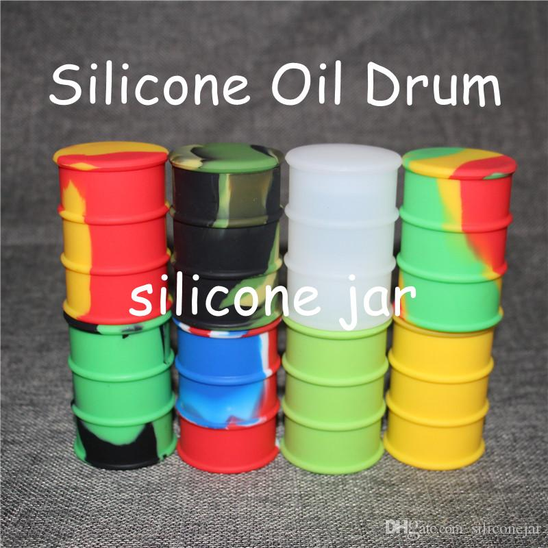 silicone oil barrel container jars dab wax oil rubber drum shape container 26ml large silicone dry herb dabber tools FDA approved