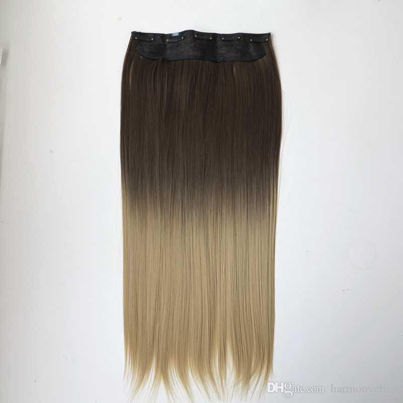 New Long Synthetic Clip In Hair Extensions Ombre 8straight Clip On