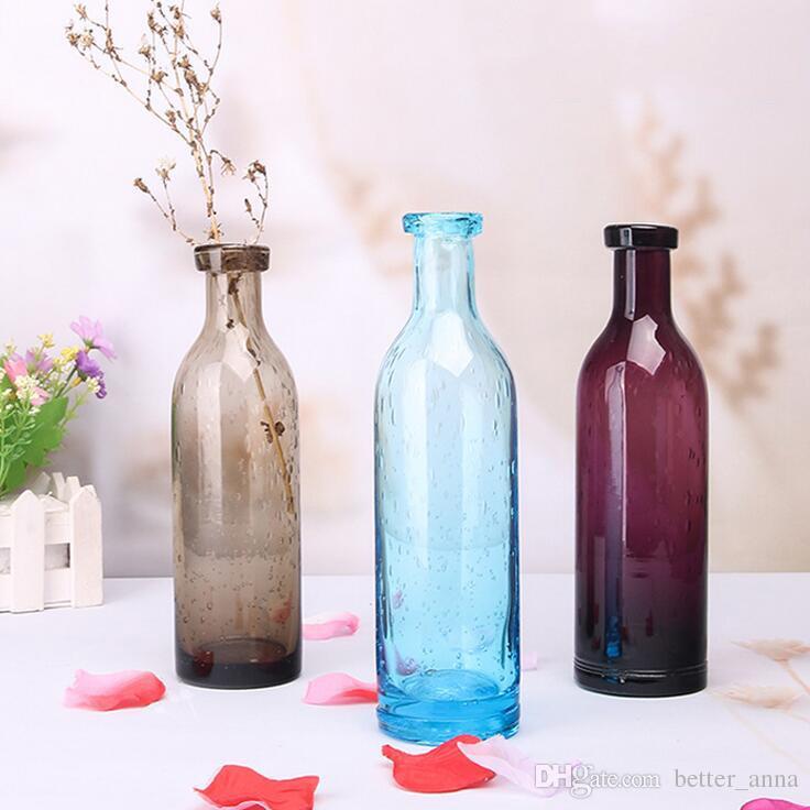 Zakka Nordic Style Blue Bubble Glass Vases Hand Blown Flower Vases