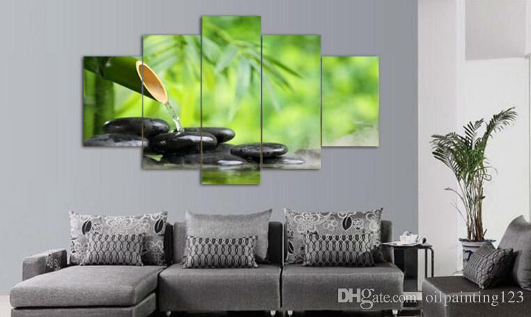 5 pannello di arte della parete pittura a olio di pietra di bambù decorazione della casa stampe su tela immagini soggiorno con cornice arte stampa su tela