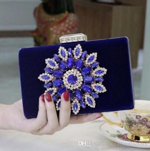2016 Lady Royal Blue Evening Bags Bolsos de fiesta Vestido Sparkly Crystas Bolsos de hombro con cuentas Clutch Increíble boda nupcial Mini monedero
