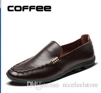 Echtes Leder Männer Wohnungen Schuhe, Marke Handmade Men Casual Lederschuhe, Leder Mokassin, Mode für Männer Schuhe