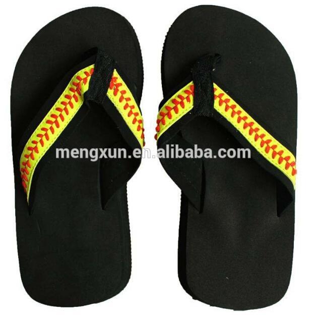 yellow softball flip flop Slippers Sandals Womens Beach sports Slippers