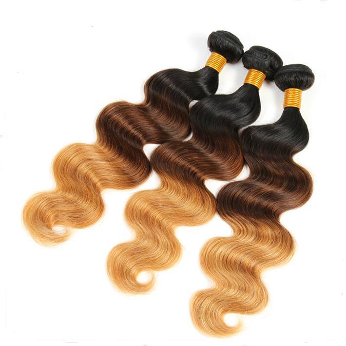 Цветные 1б 4 27 необработанные девственницы индийские объемная волна человеческих волос Weave связки с Закрытие 3 тон мед блондинка кружева фронтальной 13x4 и Ombre наращивание