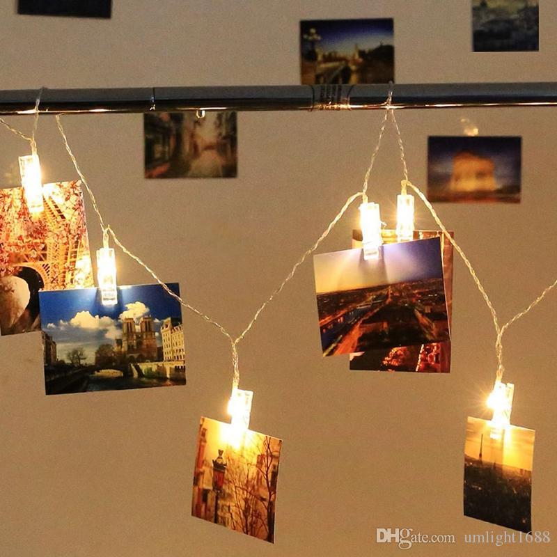 Umlight1688 Garland LED-Schnur-Licht-Neuheit-Fee Lampe Starry Batteriekarte Foto Clip Luminaria Festival Weihnachten Hochzeit Dekoration