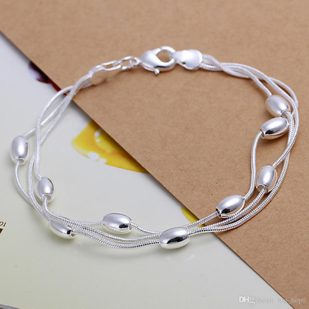 Simple Fashion Silver Plated Bracelet 925 Jewelry Silver Smooth Beads Charms Bracelet Bangle Three Line Chain for Girl and Women Beauty Gift