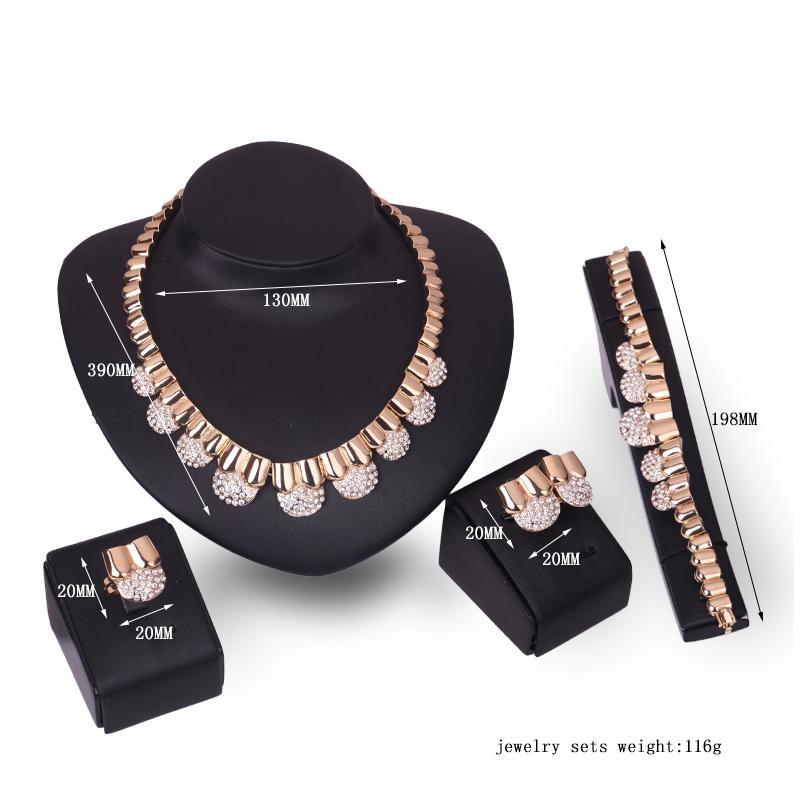 Braccialetto Collana Orecchini Anello Gioielli Set Lusso Squisita Donna Strass 18K Placcato oro Partito gioielli Set di 4 pezzi all'ingrosso JS238