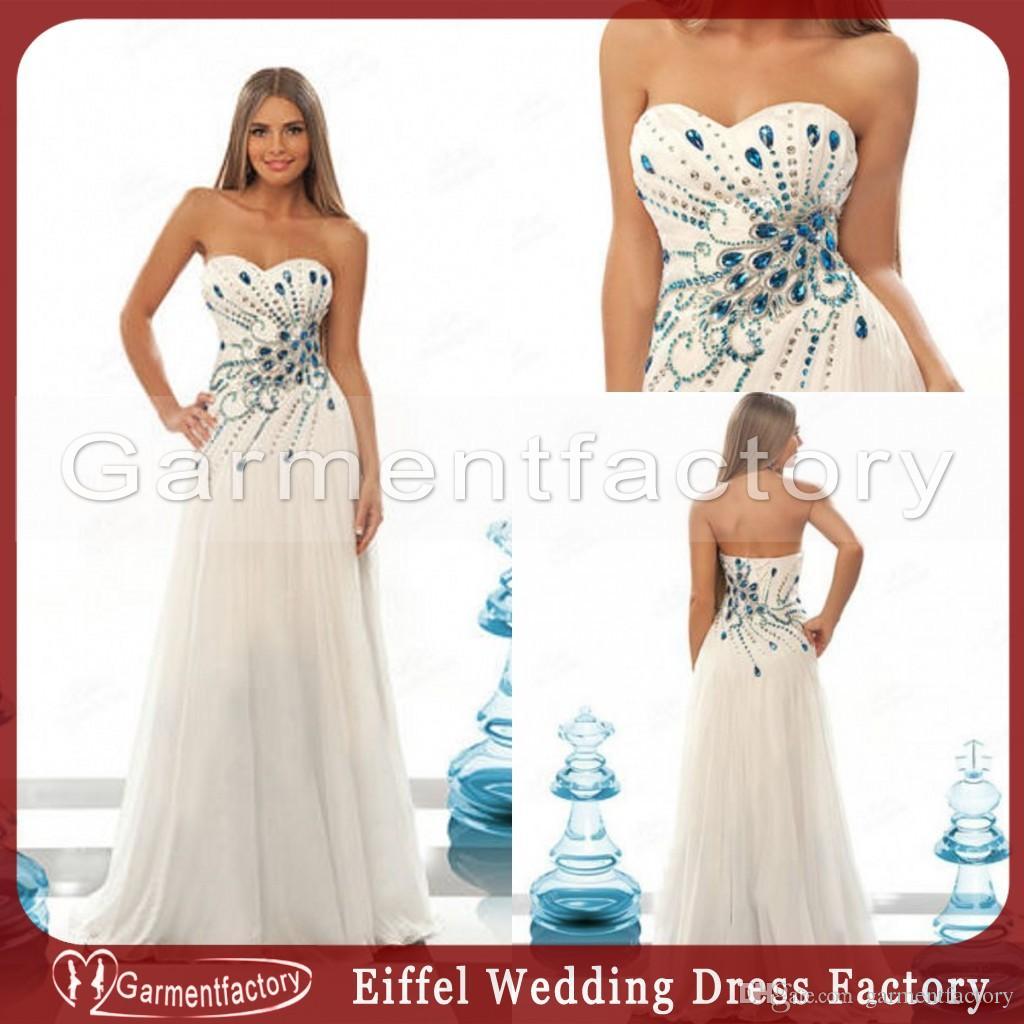 Großhandel Erstaunliche 2013 Brautkleid Blau Strass Pfau Muster ...
