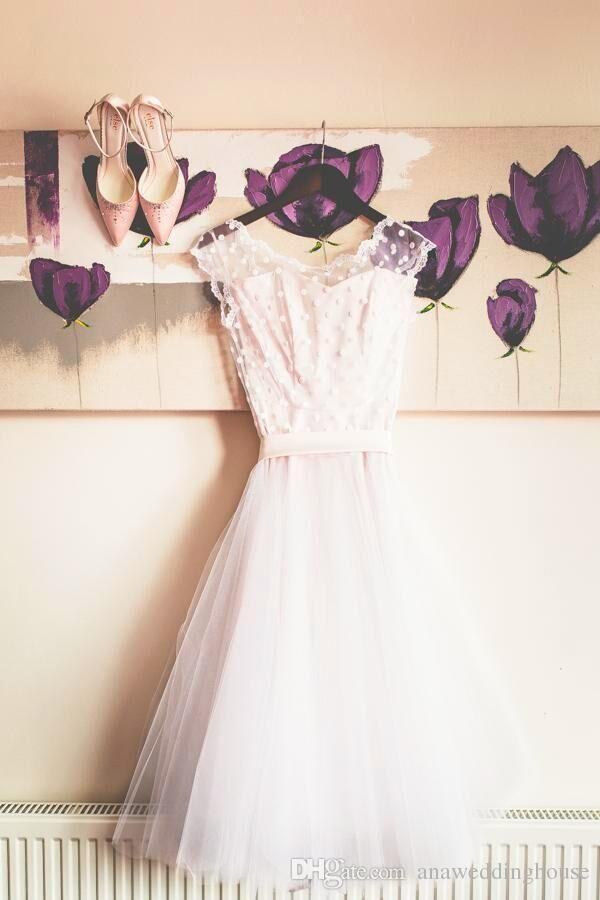 Lace Tea Duração Vestidos de casamento 2017 pontilhado polca uma linha personalizada feita de 1905 Cheap Vintage vestidos de noiva vestidos de novia com arco
