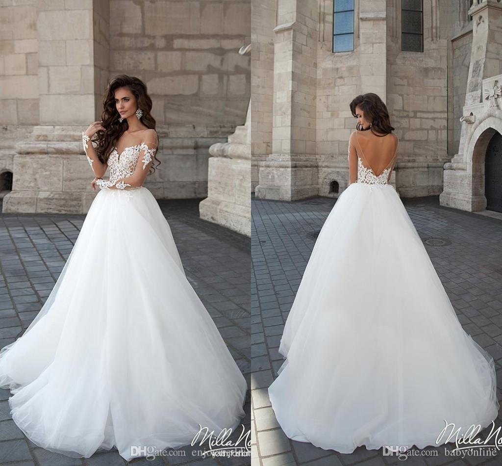 2019 New Designer Backless Wedding Dresses Sheer Crew Neck Long Illusion Sleeves Lace Appliques Cheap Long A-line Novia Bridal Gowns