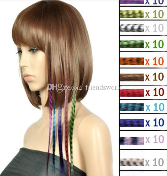 Cheaper colorful Length 16inch 40cm Synthetic Available Grizzly Loop Feather Hair Extensions Hairpiece