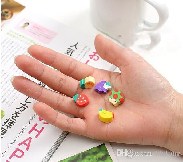 Pencil eraser sets eraser rubber school Supplies cute cartoon eraser animal and fruit shape erasers promotional gift erasers