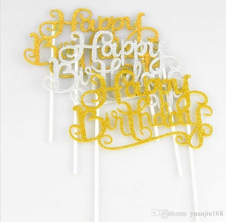 Glitter Happy Birthday Flag Cake Topper Decoración Party Favors Sticker Decor Banner Card Birthday Cake Accessory G1036