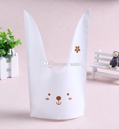 50 шт. / Упак. Милые кроличьи ушные печенья мешки Самоклеящиеся пластиковые пакеты для печенья Снэк-пакет для выпечки