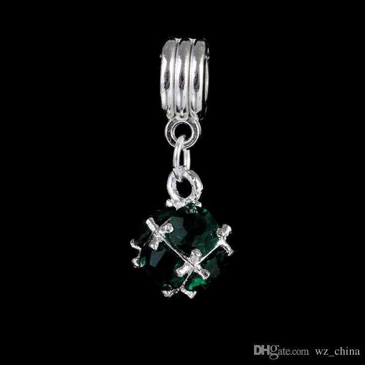 Big Crystal Ball Loose Beads Charme Pour Pandora DIY Bijoux Bracelets Pour Bracelet Européen Collier Noir / Blanc / Bleu / Rouge / Vert / Violet