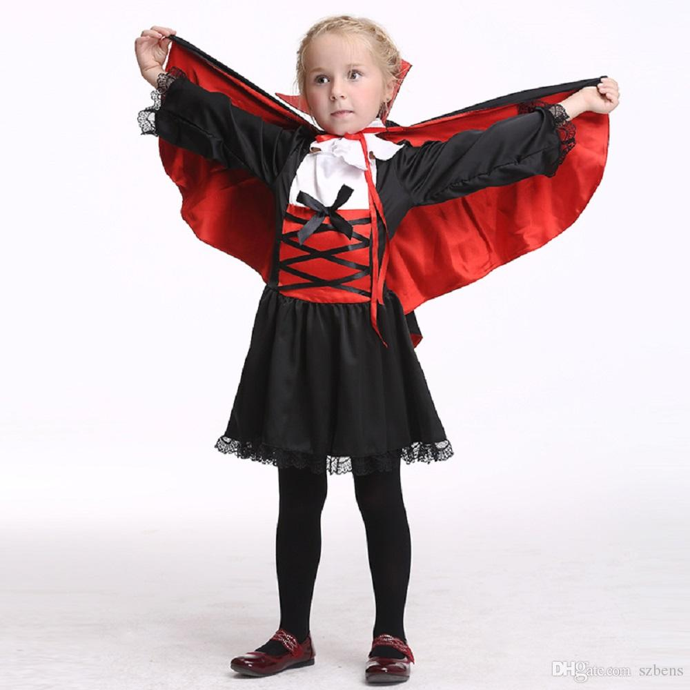 Girls Vampire Dress Costume Halloween Costume For Kids Stage ...