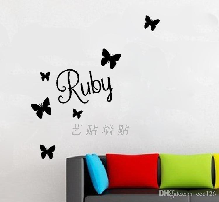Butterflies Ruby Wall Stickers Home Decal Decor Decoration Toilet Furniture  Bathroom Glass Stickers Kitchen Cabinet Cute Wall Decals Tree Wall Decals Uk  ... Part 77