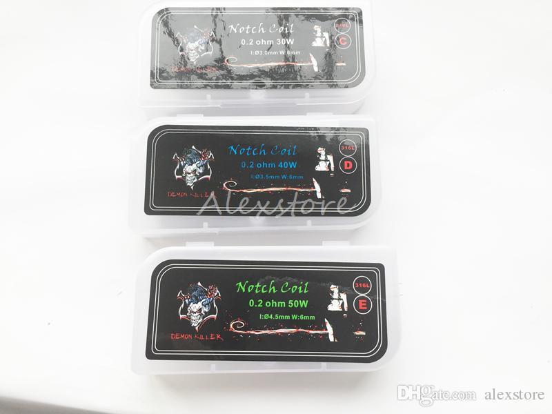 Demon Killer Notch Coils 316L SS Notchcoil Heating Premade Wire 0.2 ohm Prebuilt /Box For RTA Atomizer 30W 40W 50W Vape