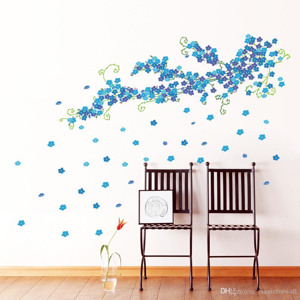 Большой Синий Цветок Сливы Стены Искусства Настенной Росписи Декор Гостиной Спальня Home Decor Стикер Стены Искусства Аппликация Графический Плакат