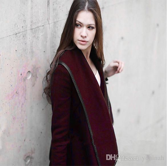 Дешевого Женской Шинель Long Wool Женщина пальто зима траншеи Толстый Твердый длинный рукав Теплый красный / желтый плюс размер M-XXXL мода