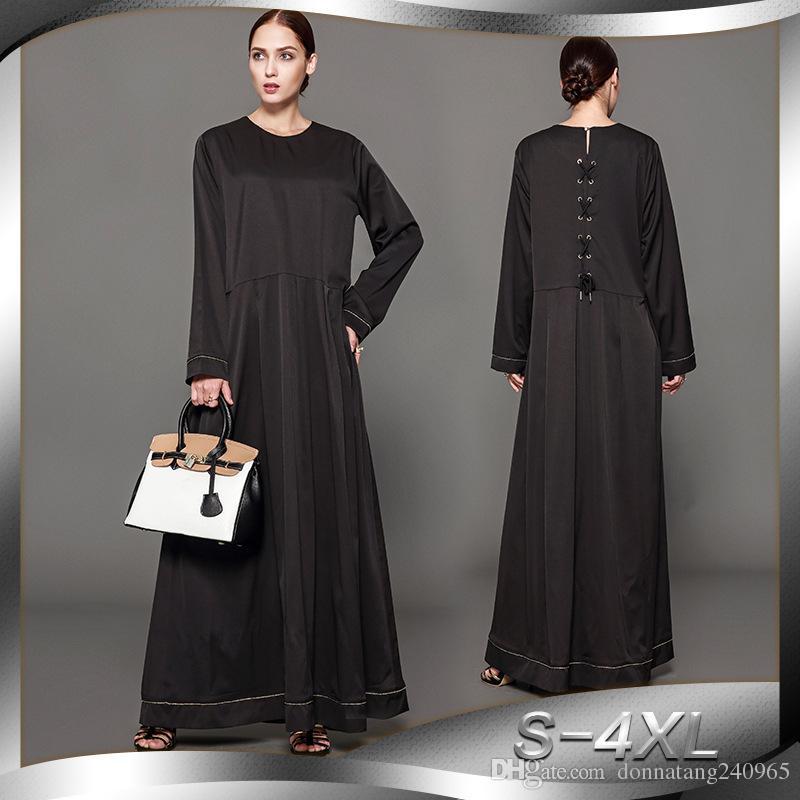 Muslim Abaya Women Robe Dress 2017 New Style Fashion Middle East Dubai  Black Maxi Long Elegant Muslim National Constume Shopping Dress Lace  Sundress From ... 375d0c1c4